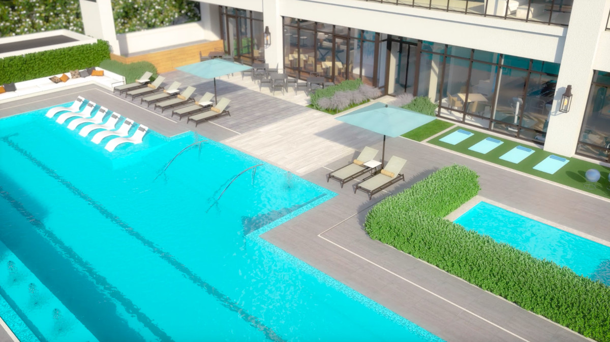 A rendering of several pools.