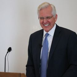 Elder D. Todd Christofferson, of the Quorum of the Twelve Apostles of The Church of Jesus Christ of Latter-day Saints, speaks at Christ Church, Oxford University in Oxford, England, on Thursday, June 15, 2017.