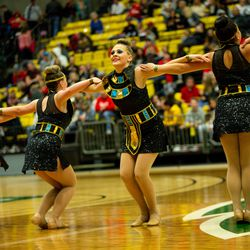 Monticello High School's drill team performs during the 2A state drill team finals at the UCCU Center at Utah Valley University in Orem on Friday, Jan. 31, 2020.