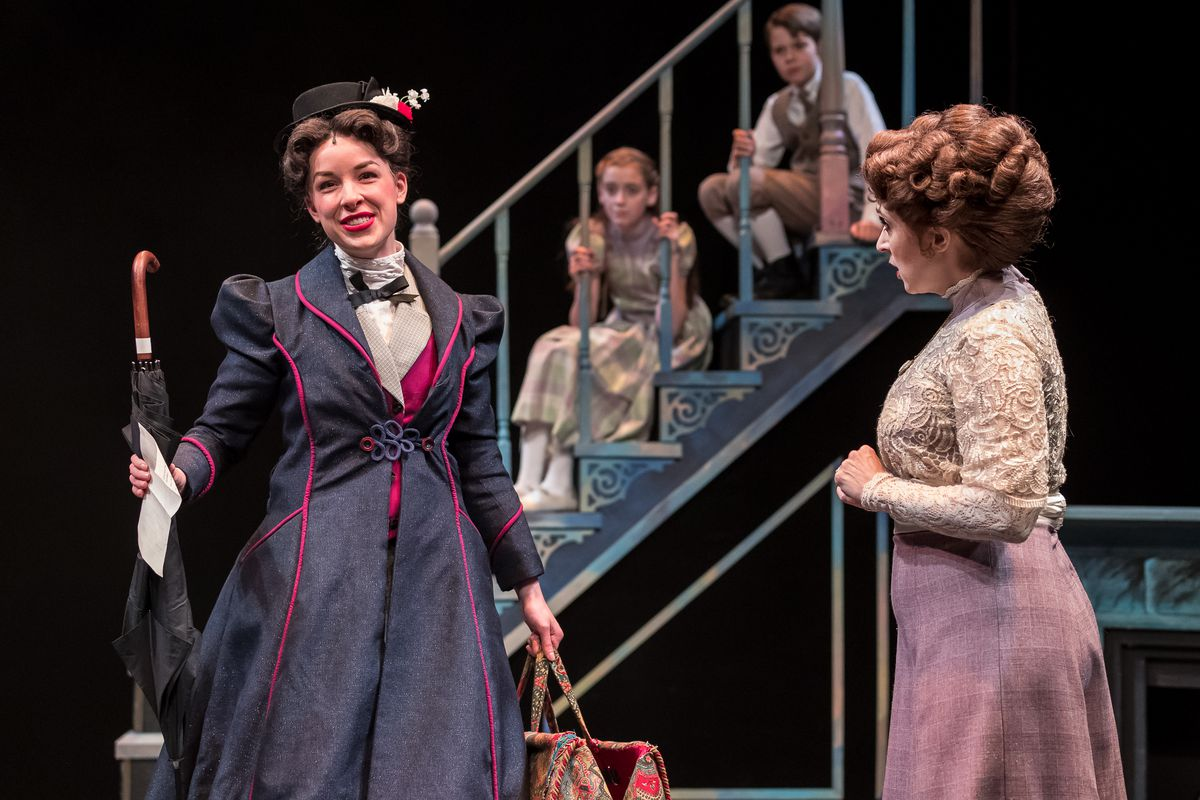 """NicoleArmold (left) plays Mary Poppins and Cory Goodrich is Mrs. Banks in the Mercury Theater Chicago production of """"Mary Poppins."""" (Photo: Brett A. Beiner)"""