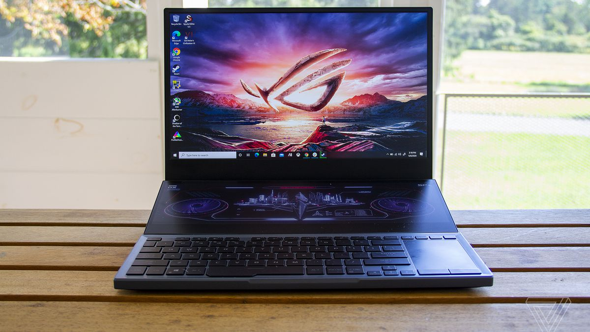 The Asus ROG Zephyrus Duo 15 on a table from the front.