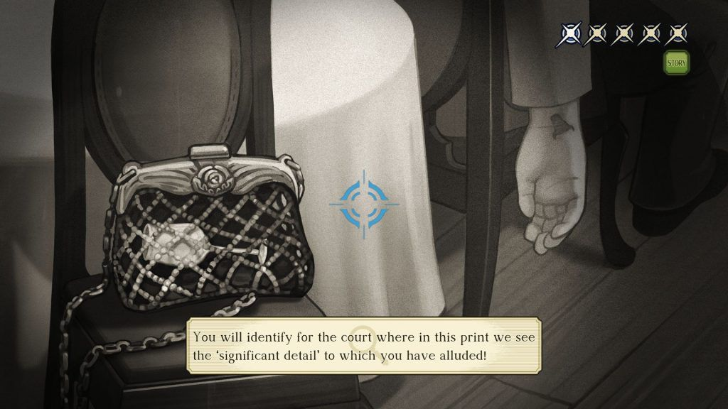A picture of a purse on a chair, to be presented as evidence in a case in The Great Ace Attorney