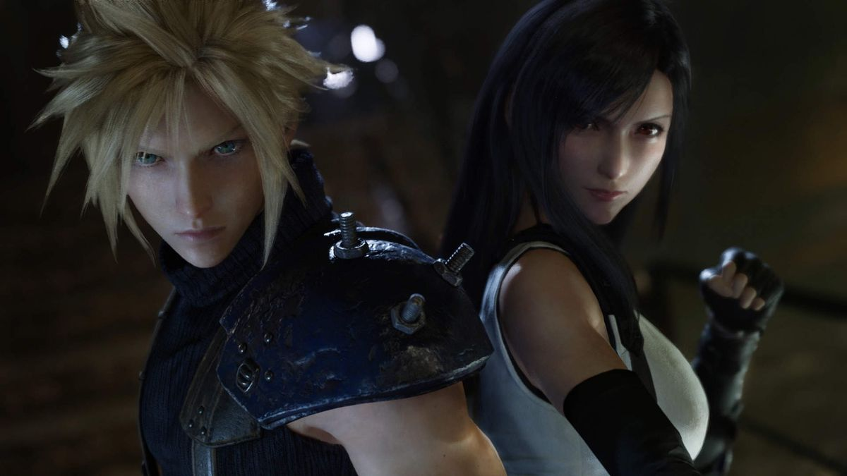 Cloud and Tifa in Final Fantasy 7 Remake.