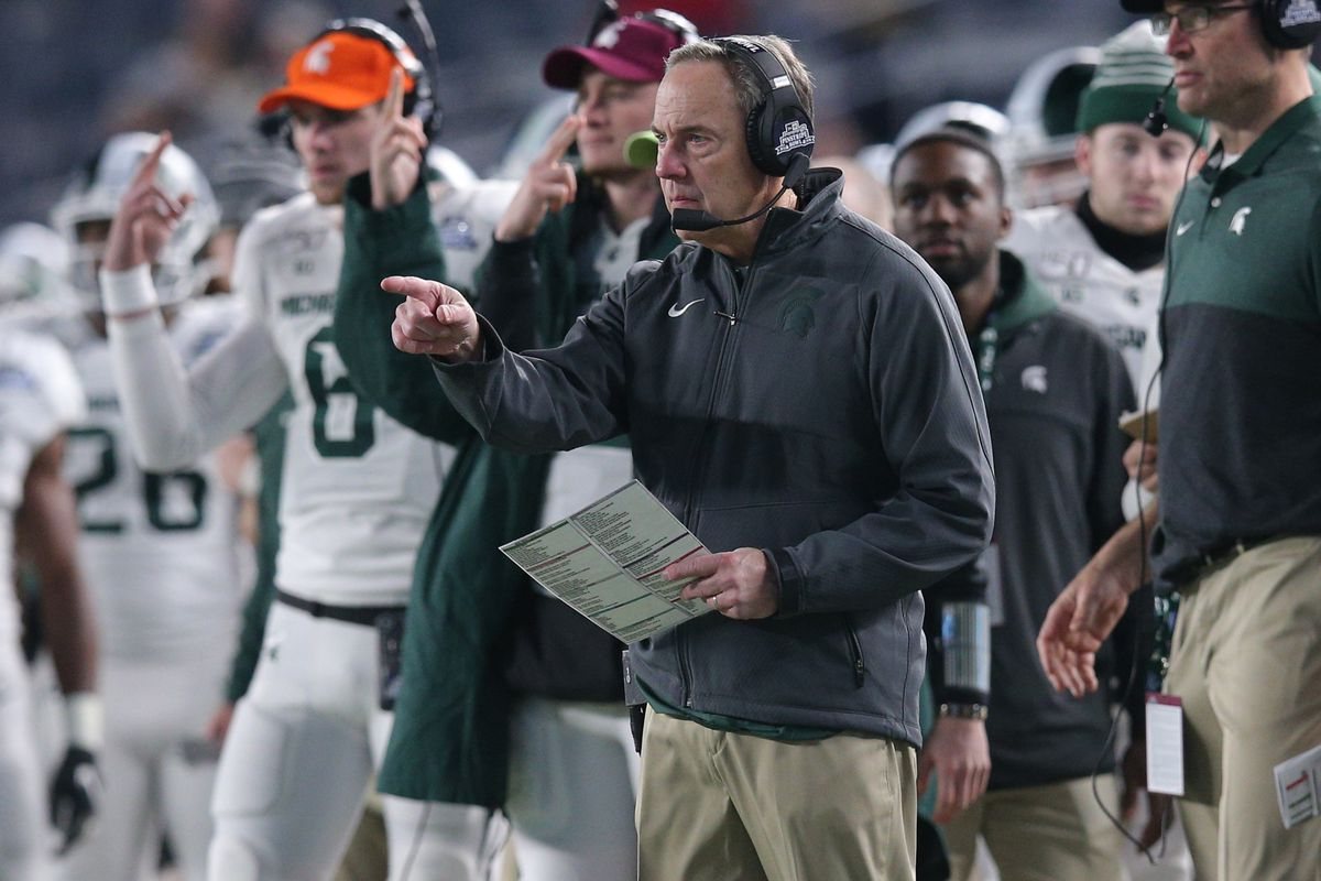 Michigan State Spartans head coach Mark Dantonio coaches against the Wake Forest Demon Deacons during the third quarter of the Pinstripe Bowl at Yankee Stadium.