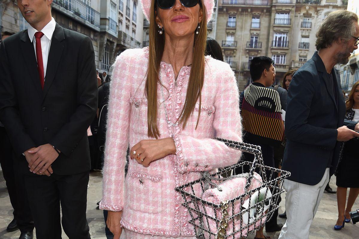 Anna Dello Russo sporting her $12,500 Chanel shopping basket. Image via Getty