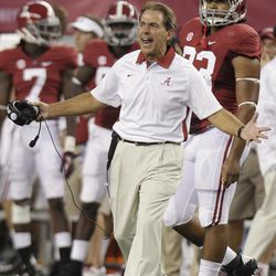 Alabama head coach Nick Saban yells from the sideline during in the first half of an NCAA college football game against the Alabama at Cowboys Stadium in Arlington, Texas, Saturday, Sept. 1, 2012.