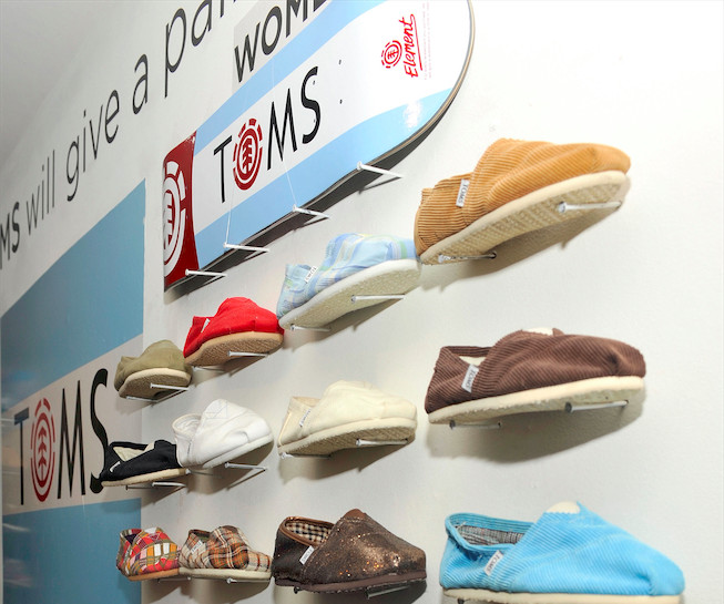 TOMS shoes wall