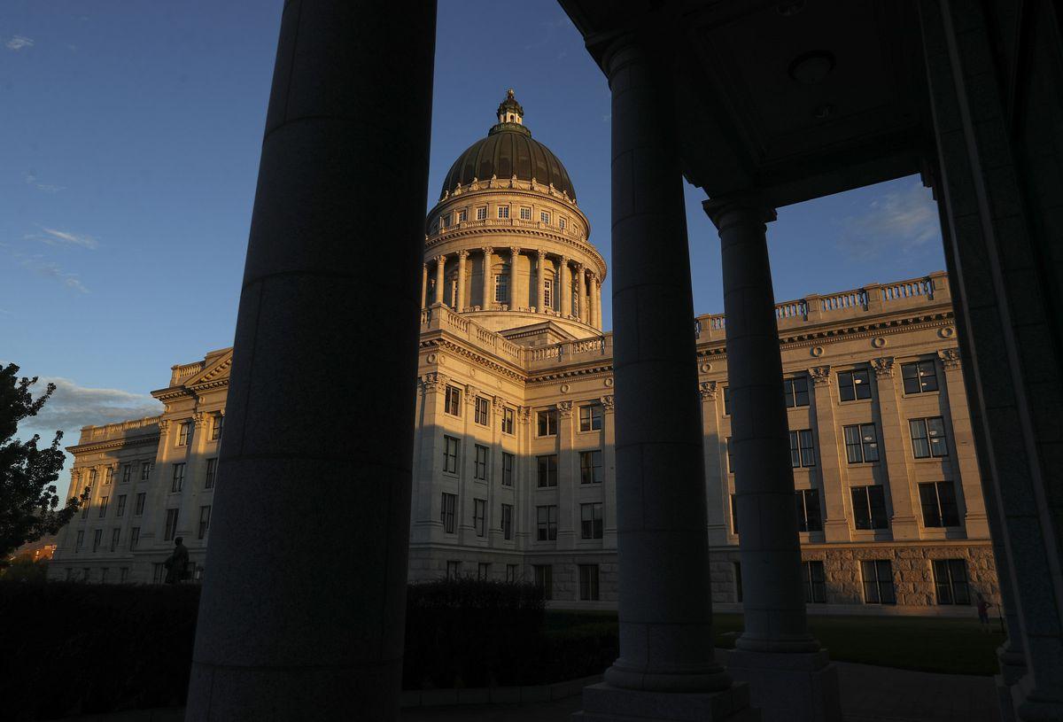 The sunset illuminates the Capitol in Salt Lake City on Tuesday, July 28, 2020.