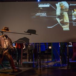 The exhibit reveals the story and clothing behind Harrison Ford's Indiana Jones costumes, designed by Deborah Nadoolman. Did you know his shoes are by Red Wing?
