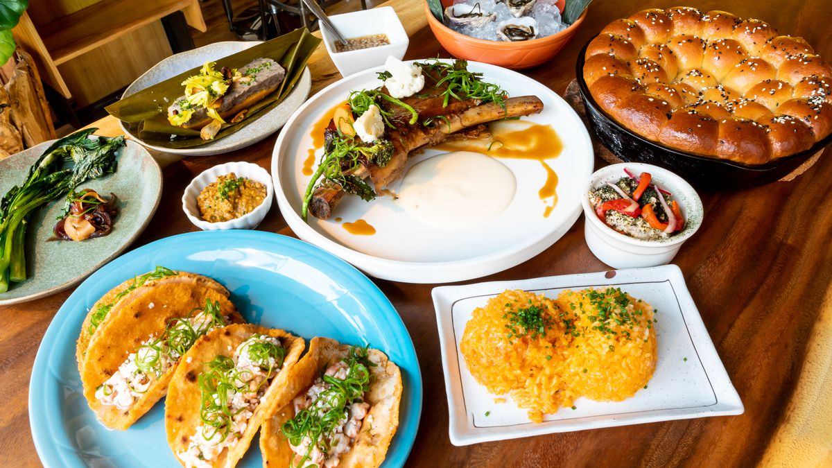 A spread of Guamanian dishes at Prubechu