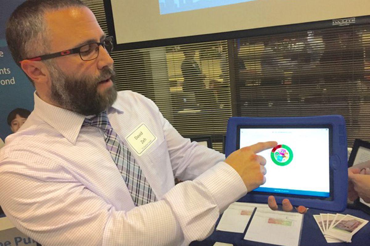David Zeh, a kindergarten teacher at School 44, shows how he uses data to track student behavior in his class.