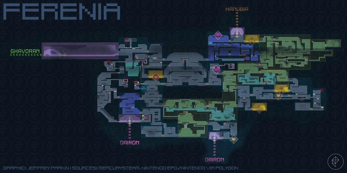 Metroid Dread Ferenia map