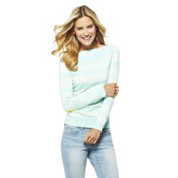 "<a href=""http://www.cwonder.com/striped-elbow-patch-sweater-25.html"">Striped Elbow Patch Sweater</a> in Pistachio, $78"