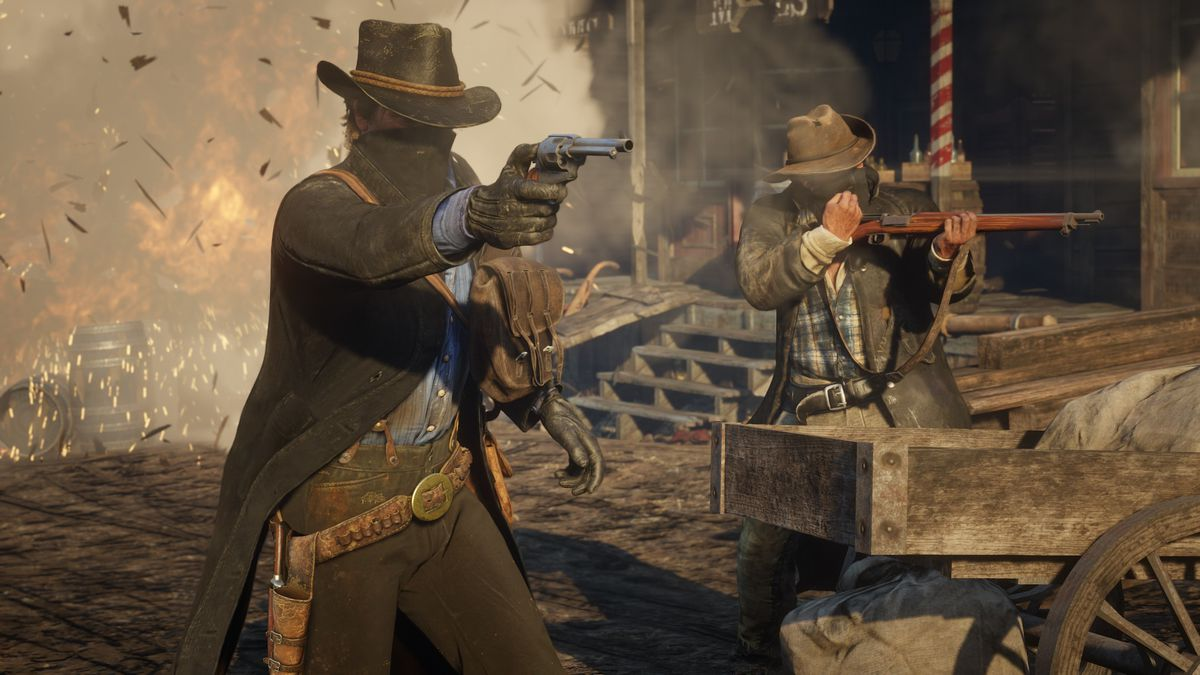 Red Dead Redemption 2 - Arthur Morgan and Bill Williamson firing guns