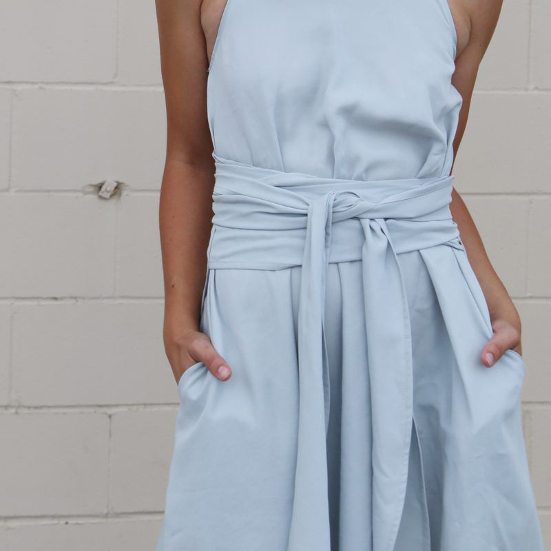 A detail of the wrap dress in blue