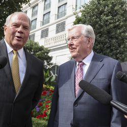 Elder Ronald A. Rasband, a member of the Quorum of the Twelve Apostles of The Church of Jesus Christ of Latter-day Saints, left, President M. Russell Ballard, acting president of the Quorum of the Twelve Apostles, center, and Elder Jack Gerard, a General Authority Seventy, right, speak to members of the media following a meeting with Vice President Mike Pence at the Grand America Hotel in Salt Lake City on Thursday, Aug. 22, 2019.