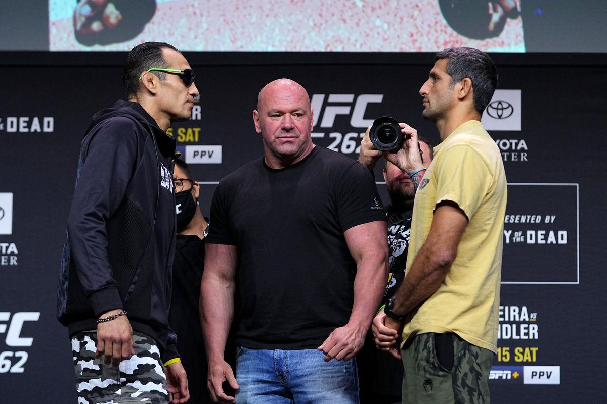 UFC 262 staredowns: 'Tony' chants erupt as Ferguson and Dariush face off - MMAmania.com