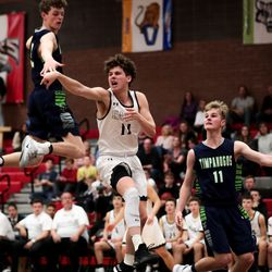 Timpanogos and Alta face off in a boys basketball game at Alta High School in Sandy on Tuesday, Jan. 21, 2020.