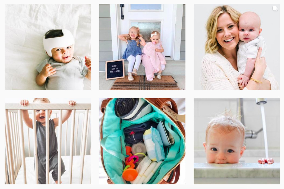 Six photos in a grid showing a mom with a baby and other child-centered images.