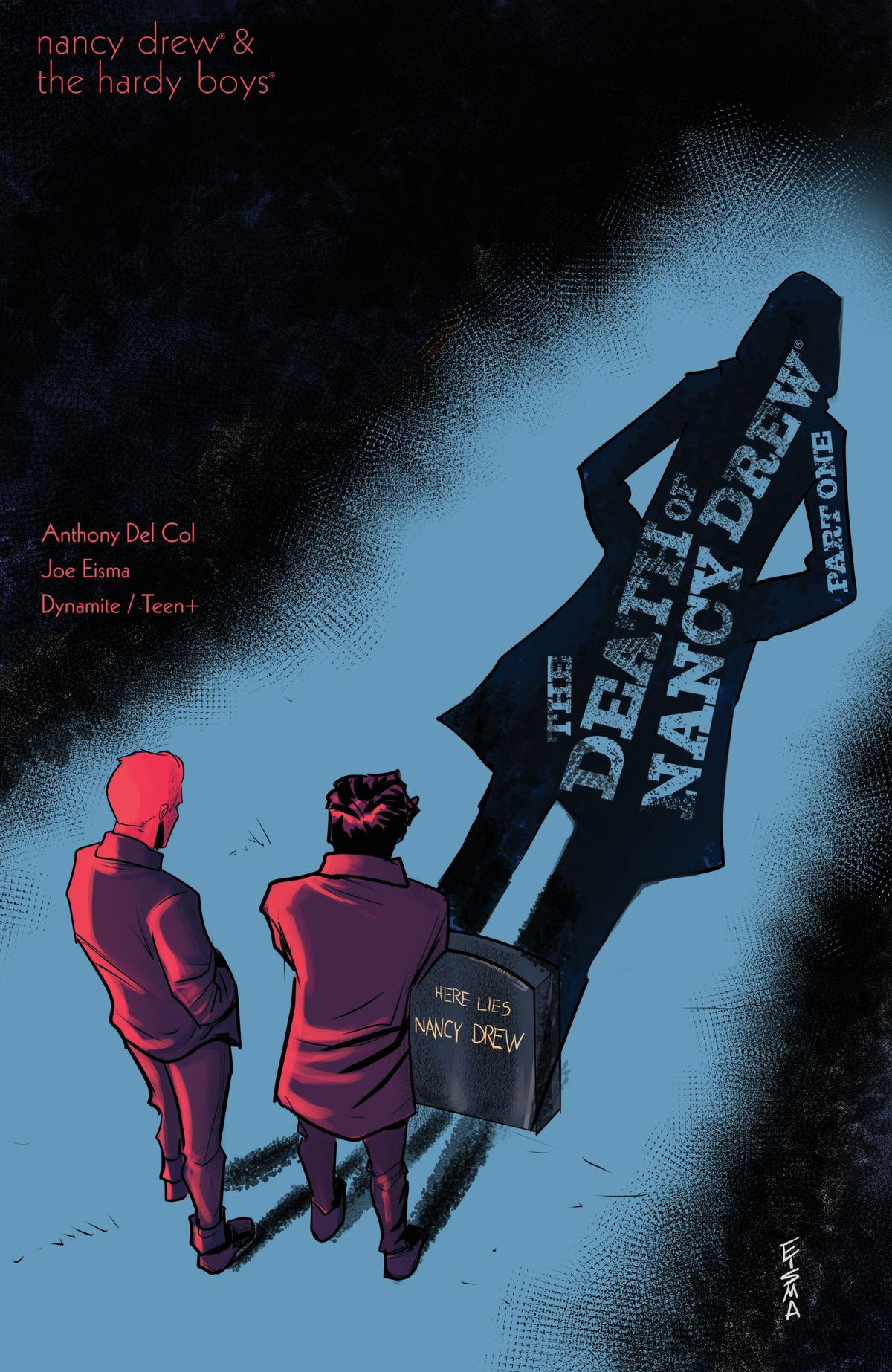 Frank and Joe Hardy stand over the grave of Nancy Drew on the cover of Nancy Drew & the Hardy Boys: The Death of Nancy Drew #1, Dynamite Comics (2020).