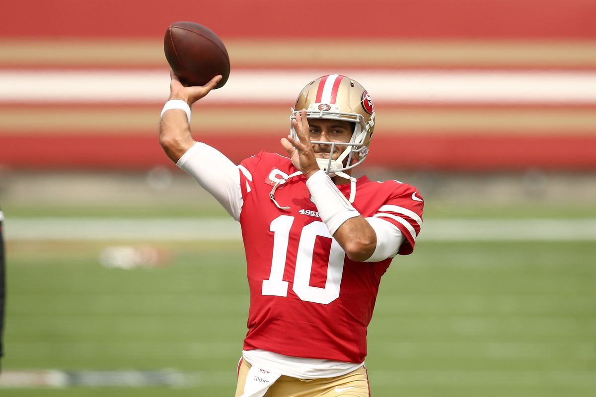 Jimmy Garoppolo of the San Francisco 49ers warms up before their game against the Arizona Cardinals at Levi's Stadium on September 13, 2020 in Santa Clara, California.