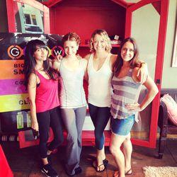Racked LA's Natalie Alcala with Pure Barre's Emily Davenport, Jordan Ballard and Anna Grygoruk.