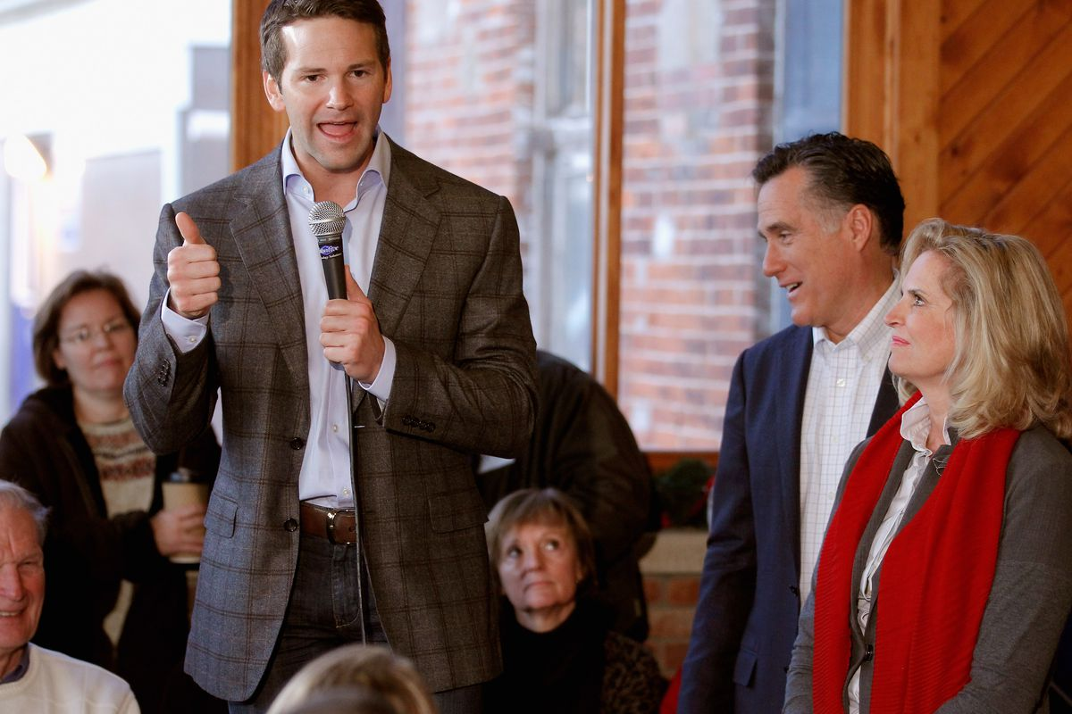 Rep. Aaron Schock (R-IL) at an event for Mitt Romney's 2012 primary campaign on December 28, 2011 in Muscatine, Iowa.