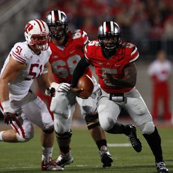 Braxton Miller with a focused look running down the field.
