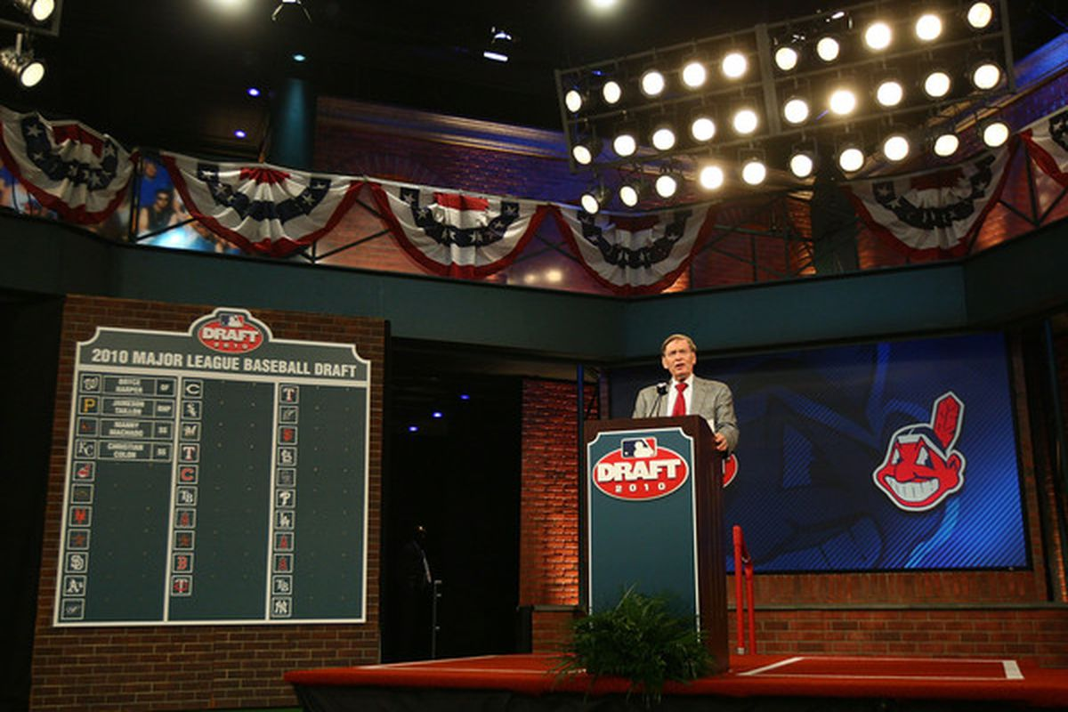 SECAUCUS, NJ - JUNE 07:  MLB commissioner Bud Selig speaks during the MLB First Year Player Draft on June 7, 2010 held in Studio 42 at the MLB Network in Secaucus, New Jersey.  (Photo by Mike Stobe/Getty Images)