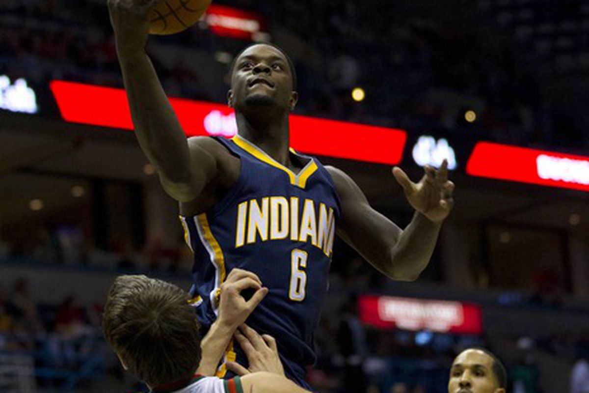 Mar 24, 2012; Milwaukee, WI, USA;  Indiana Pacers guard Lance Stephenson (6) during the game against the Milwaukee Bucks at the Bradley Center.  The Pacers defeated the Bucks 125-104.  Mandatory Credit: Jeff Hanisch-US PRESSWIRE