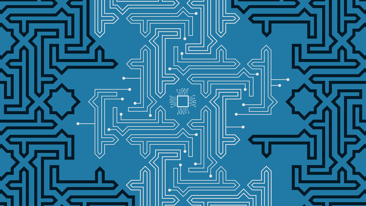 An illustration that blends Islamic-inspired design with the patterns of wires found on computer chips.