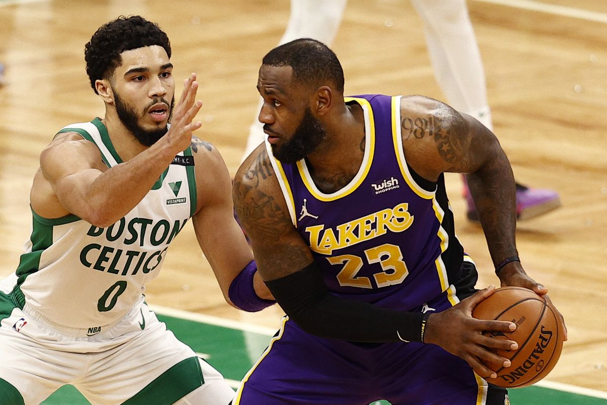 Jayson Tatum #0 of the Boston Celtics defends LeBron James #23 of the Los Angeles Lakers during the fourth quarter at TD Garden on January 30, 2021 in Boston, Massachusetts. The Lakers defeat the Celtics 96-95.