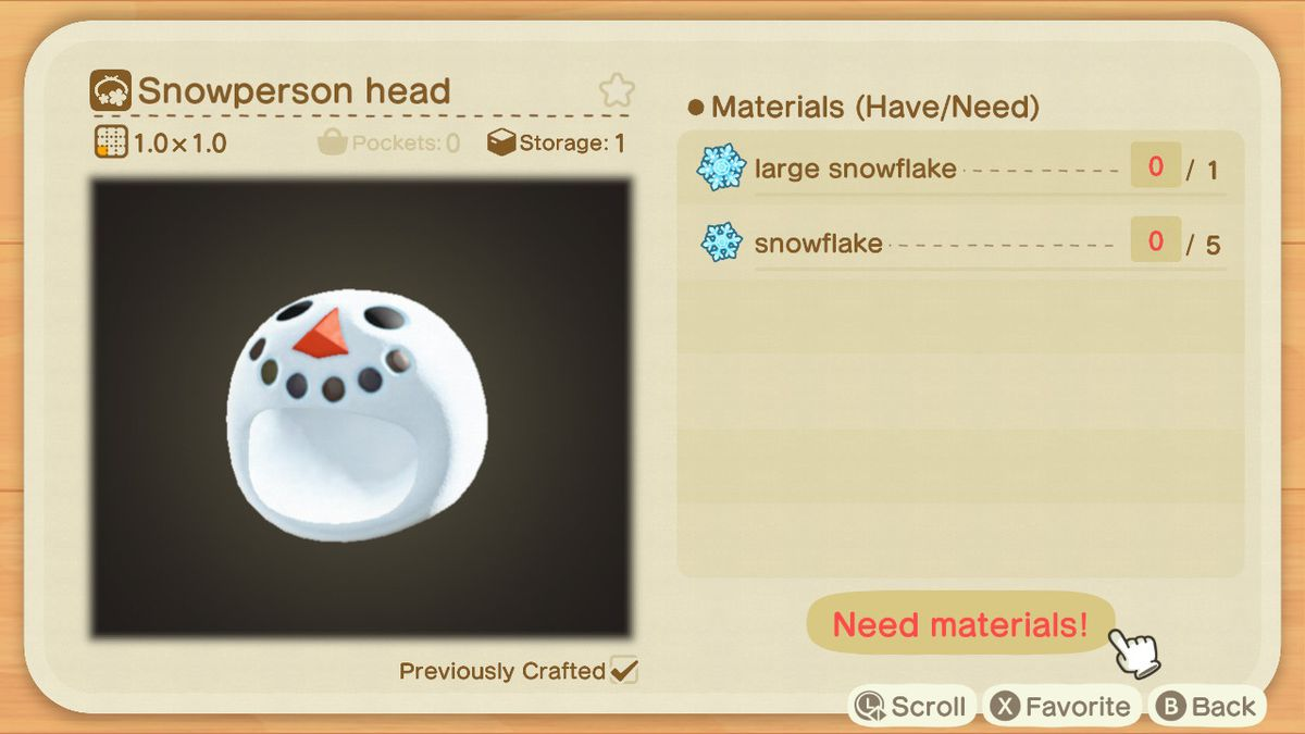 An Animal Crossing recipe for a Snowperson Head