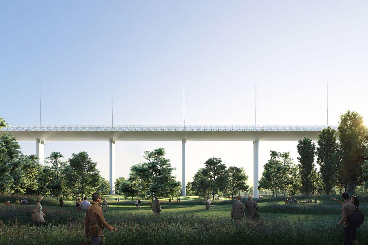 Rendering of bridge with people walking underneath