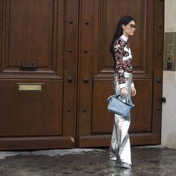 A J.W. Anderson blouse worn with a Loewe purse and trousers spotted on the street of Paris.