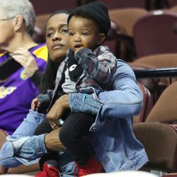 Swin Cash with her son.
