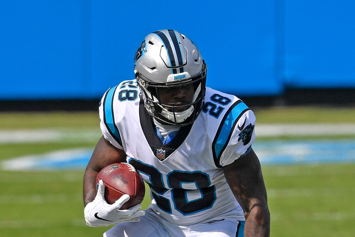 Mike Davis #28 of the Carolina Panthers runs against the Arizona Cardinals during their game at Bank of America Stadium on October 04, 2020 in Charlotte, North Carolina.