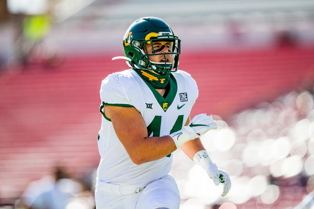 Linebacker Dillon Doyle of the Baylor Bears warms up before the college football game against the Texas Tech Red Raiders at Jones AT&T Stadium on November 14, 2020 in Lubbock, Texas.