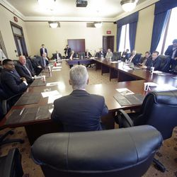 FILE - In this May 18, 2016 file photo, Libertarian presidential candidate, former New Mexico Gov. Gary Johnson speaks with legislators at the Utah State Capitol in Salt Lake City.
