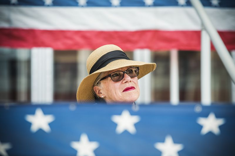 Carol Miller, who is running for the Republican nomination in West Virginia's 3rd Congressional District, is seen at a National Day of Prayer event in Point Pleasant , W.Va., on May 3, 2018.