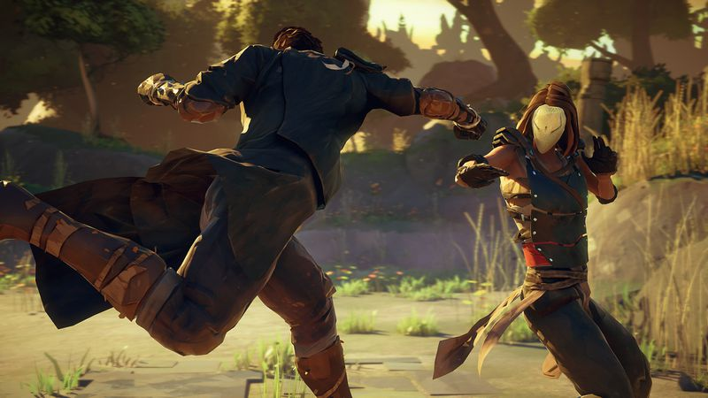 This screenshot from Absolver shows two characters facing off against each other. One is performing a leaping punch, while the other has taken more of a defensive pose. The duo are standing in a grassy, forest looking region.