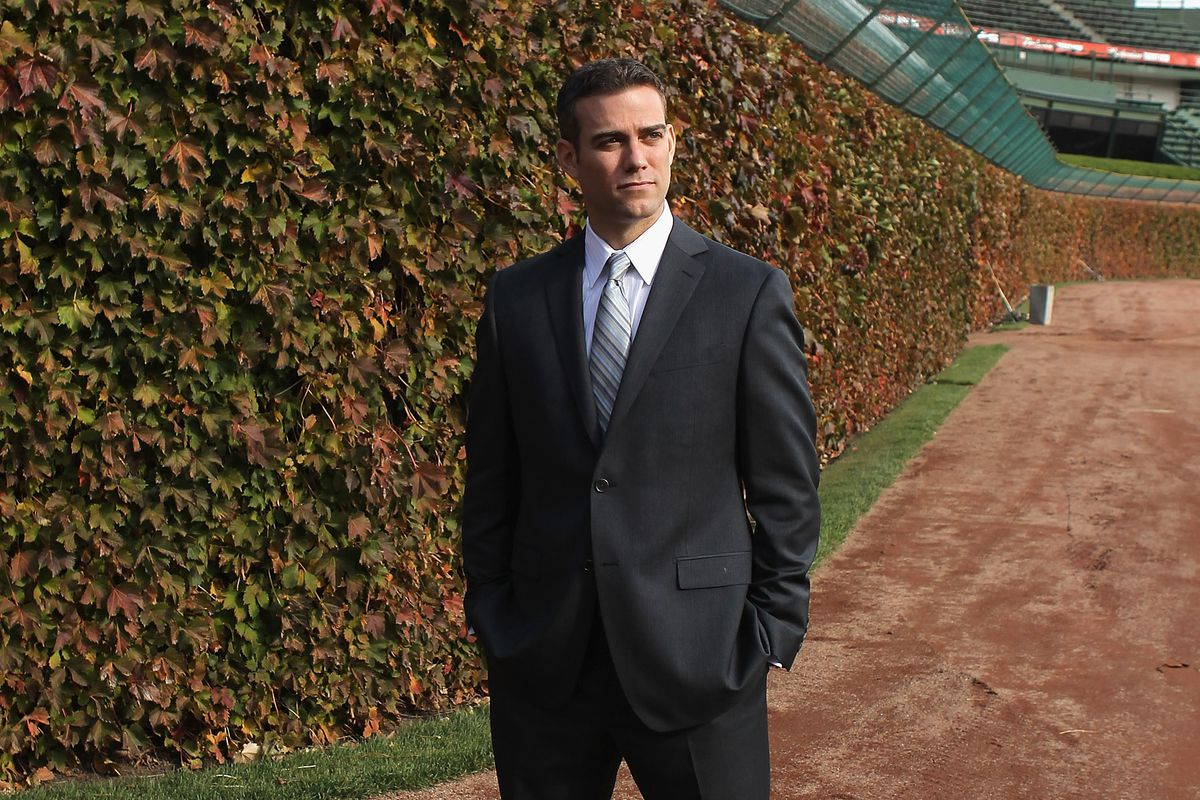 Theo at Wrigley on the day he was hired, October 25, 2011. See the red ivy? Maybe we'll see that this October.