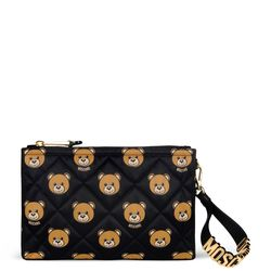 Moschino printed quilted nylon clutch, $450