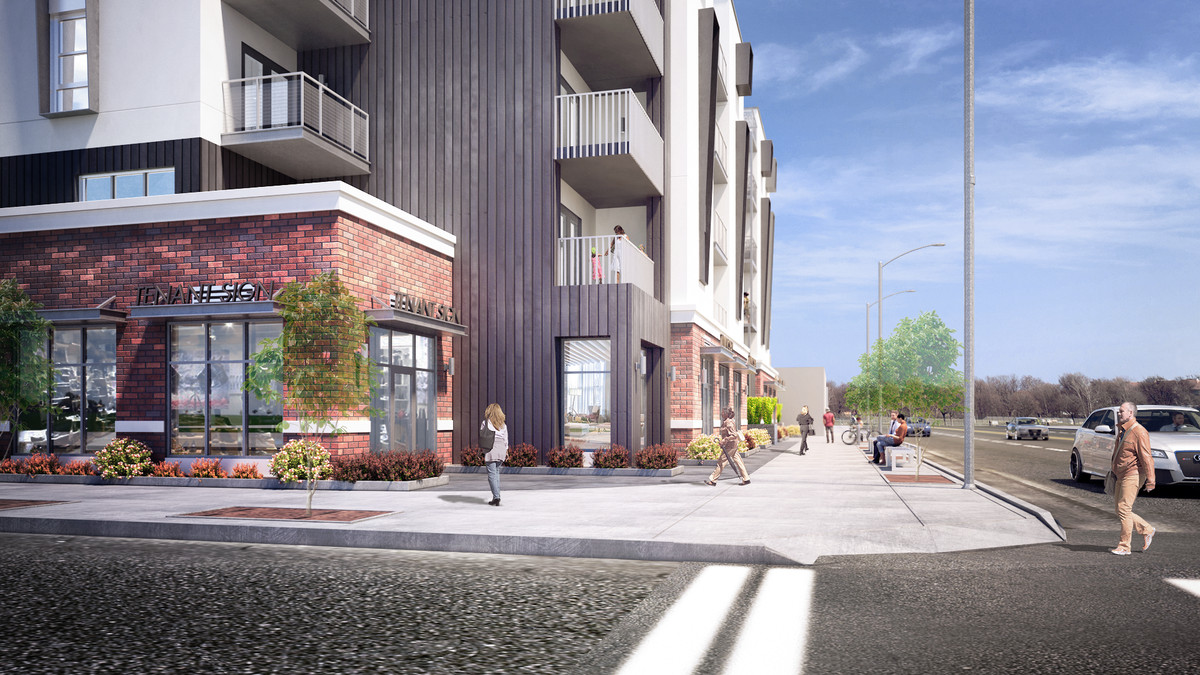 Rendering of building's entrance
