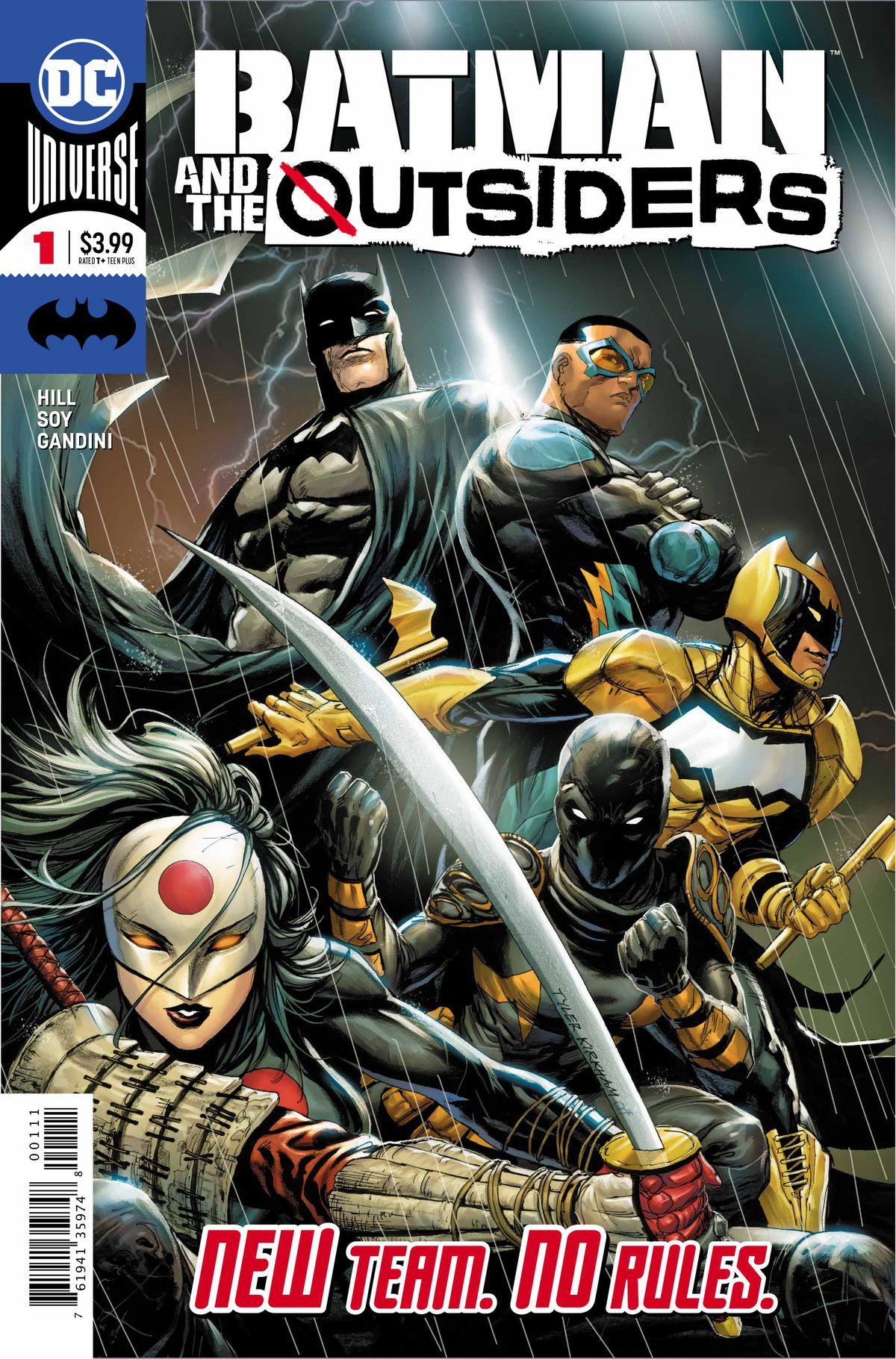 The cover of Batman & the Outsiders #1, by Top to bottom: Batman, Black Lightning, Signal, Orphan, Katana, DC Comics (2019).