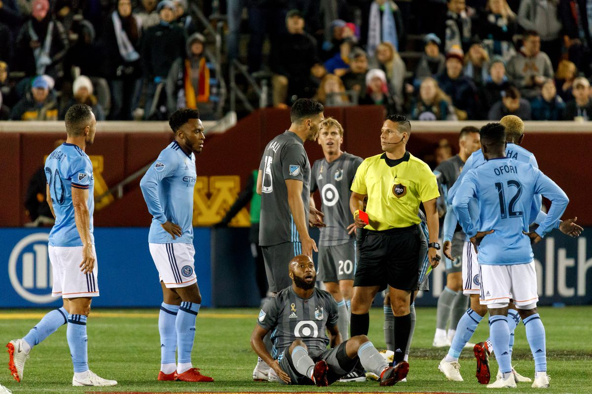 September 29, 2018 - Minneapolis, Minnesota, United States - Minnesota United midfielder Collen Warner (26) is issued a second yellow and is ejected from the Minnesota United vs New York City FC match at TCF Bank Stadium.   (Photo by Seth Steffenhagen/Steffenhagen Photography)
