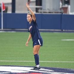 UConn's Emma Zaccagnini #11 during the UMass Minutewomen vs the UConn Huskies at Morrone Stadium at Rizza Performance Center in an exhibition women's college soccer game in Storrs, CT, Monday, August 9, 2021.