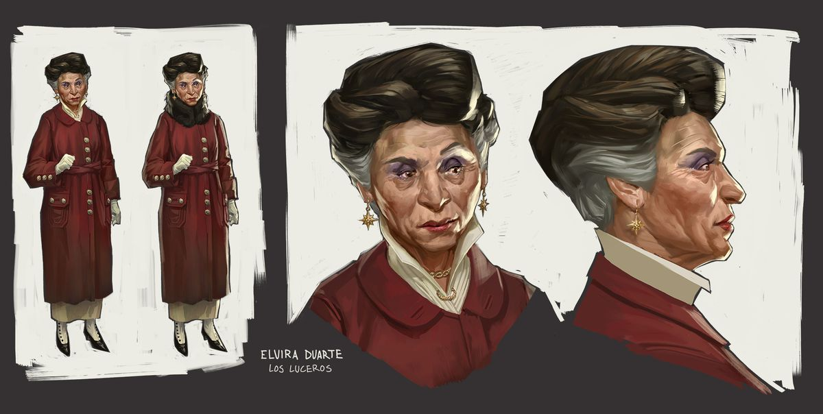 Concept art for Elvira Duarte shows her in profile, as though she were sitting for a mugshot.
