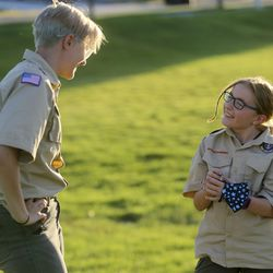 Sunflower patrol leader Emerson Adams chats with Jordyn Bybee during a Boy Scout meeting for the all-female Troop 314 at Parkview Park in Stansbury Park on Monday, July 6, 2020.