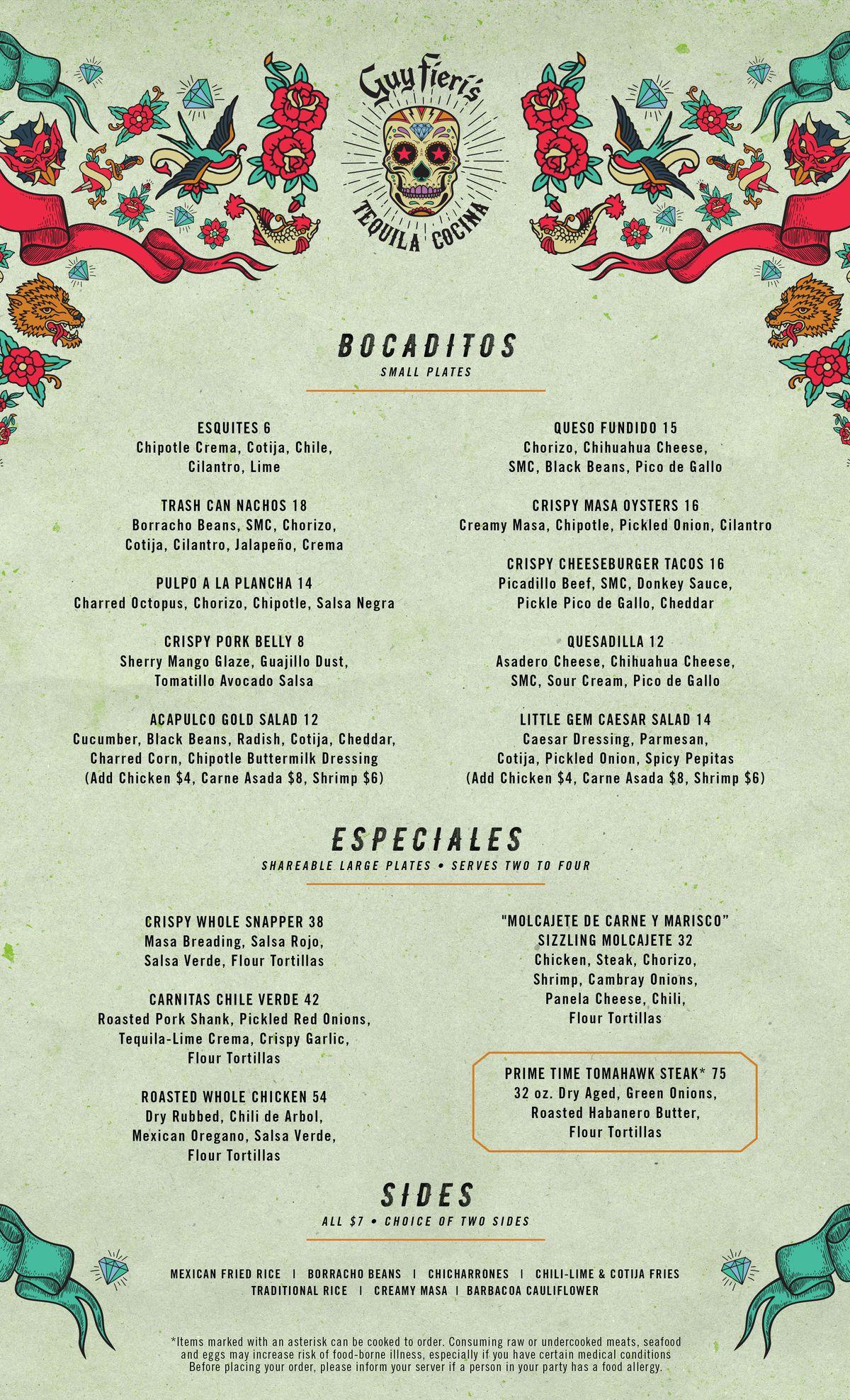Guy Fieri's Tequila Cocina food menu